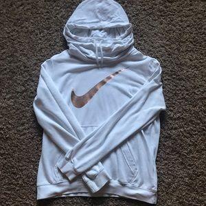 White cowl neck Nike hoodie